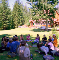 students in discussion circle